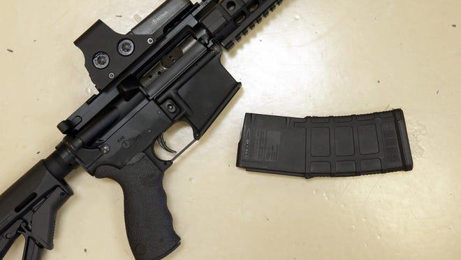 A custom-made semi-automatic hunting rifle with a high-capacity detachable magazine.