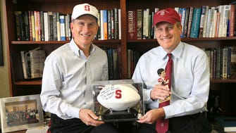 October 6, 2016  Pat English (left) of Fiduciary Management and Bill Wernecke of Pegasus Partners, both Stanford University alumni, say they're pleased that the school is offering MBA fellowships to students willing to come back and work in the Midwest.