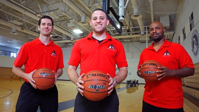 (From left) Derek Olich, Jeremy Kipness and Jeff Meadows at Bella Vista College Preparatory School Tuesday, May 24, 2016 in Cave Creek, Ariz.  The trio are starting a new prep basketball academy, Aspire at the school.