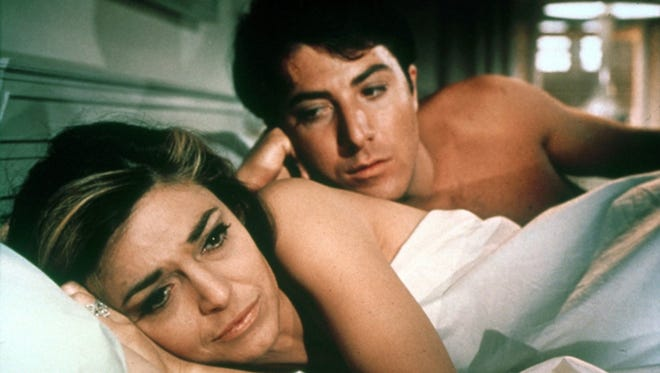 """Anne Bancroft and Dustin Hoffman in the film, """"The Graduate."""""""