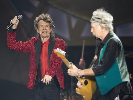 Rolling Stones frontman Mick Jagger (left) and guitarist