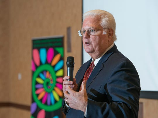 """The Florida Secretary of State Ken Detzner speaks during the """"State of the Arts"""" luncheon hosted by Art, Culture, and Entertainment, Inc. (ACE) at the Lewis Bear Company in Pensacola on Tuesday, March 20, 2018."""