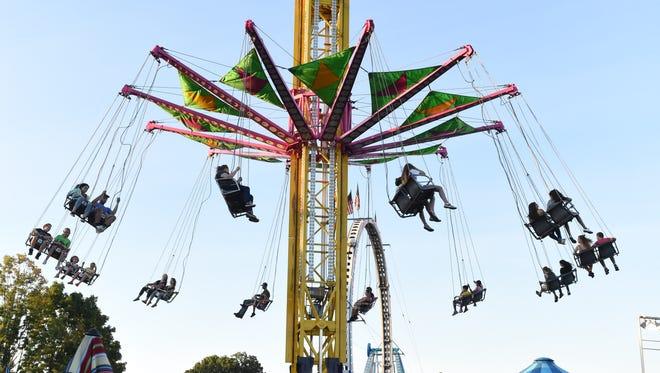The Vertigo swings at the Dutchess County Fair in Rhinebeck on Wednesday.