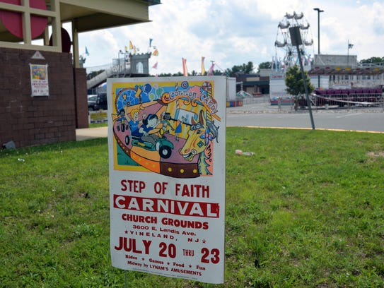 Posters in front of Step of Faith Worship Center announce