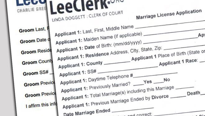 The Lee County Clerk of Courts has updated their marriage license application with gender neutral terms