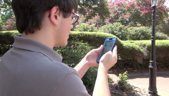 C-L intern Royce Swayze plays Pokemon Go.