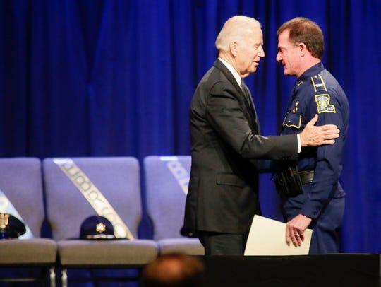 Vice President Joe Biden consols Louisiana State Police