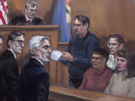 This is an artist's rendering of the jury foreman reading the guilty verdict to defendant Thomas J. Capano, left, his attorney Joseph Oteri, second from left, and Judge William Swain Lee, top, on Sunday, Jan. 17, 1999.