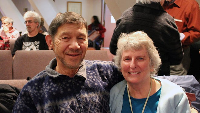 Gene and Barbara DeBarruel of Anderson attend the Oaksong Music Society concert with John McCutcheon on Jan. 14 at Pilgrim Congregational Church in Redding.