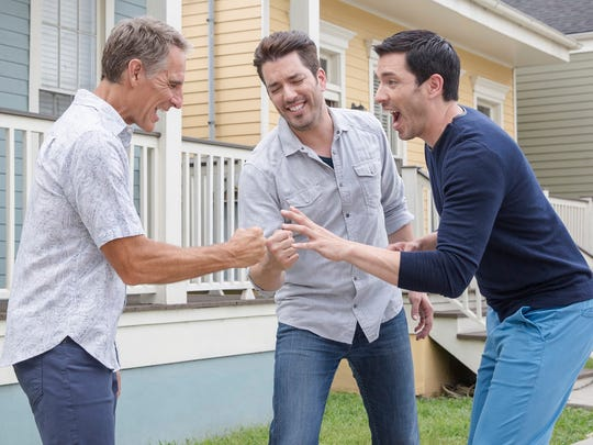 Scott Bakula plays Rock, Paper, Scissors with Jonathan and Drew Scott.