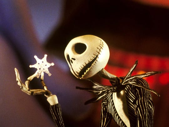 "Jack Skellington is a character in the 1993 Tim Burton film ""The Nightmare Before Christmas."" Jack Skellington (voiced by Chris Sarandon) in the 1993 Tim Burton film 'The Nightmare Before Christmas.' Credit: Touchstone Pictures."