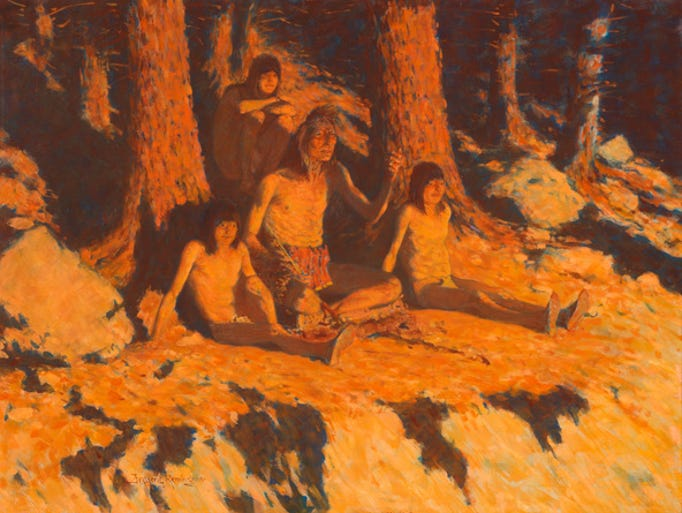"""The story of where the sun goes,"" by Fredric Remington, is expected to sell for $1.5 million-$2.5 million at the Coeur d'Alene Art Auction on Saturday."