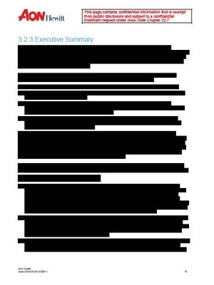 The executive summary section of Aon Hewitt's proposal to the state of Iowa was completely redacted in 2015.