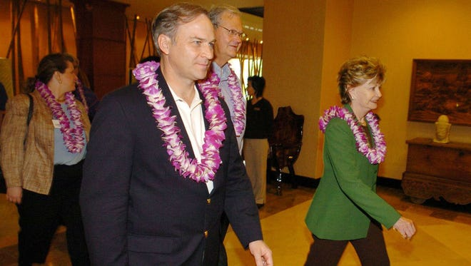 In this January, 2005 file photo, Guam Delegate Madeleine Bordallo, right, leads U.S. Reps. Randy Forbes, left, and Ike Skelton through the Outrigger Guam Resort in Tumon as they make their way to a meeting with local and military leaders. The three members of the Armed Forces Committee stopped on Guam, en route to Washington D.C., after a tour of the Asia-Pacific region as part of a congressional delegation.