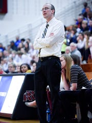 Roosevelt girls head coach David Maxwell watch his team during their high school basketball game at Roosevelt High School on Friday, Jan. 19, 2018. Rapid City Stevens beat Roosevelt 45-30.