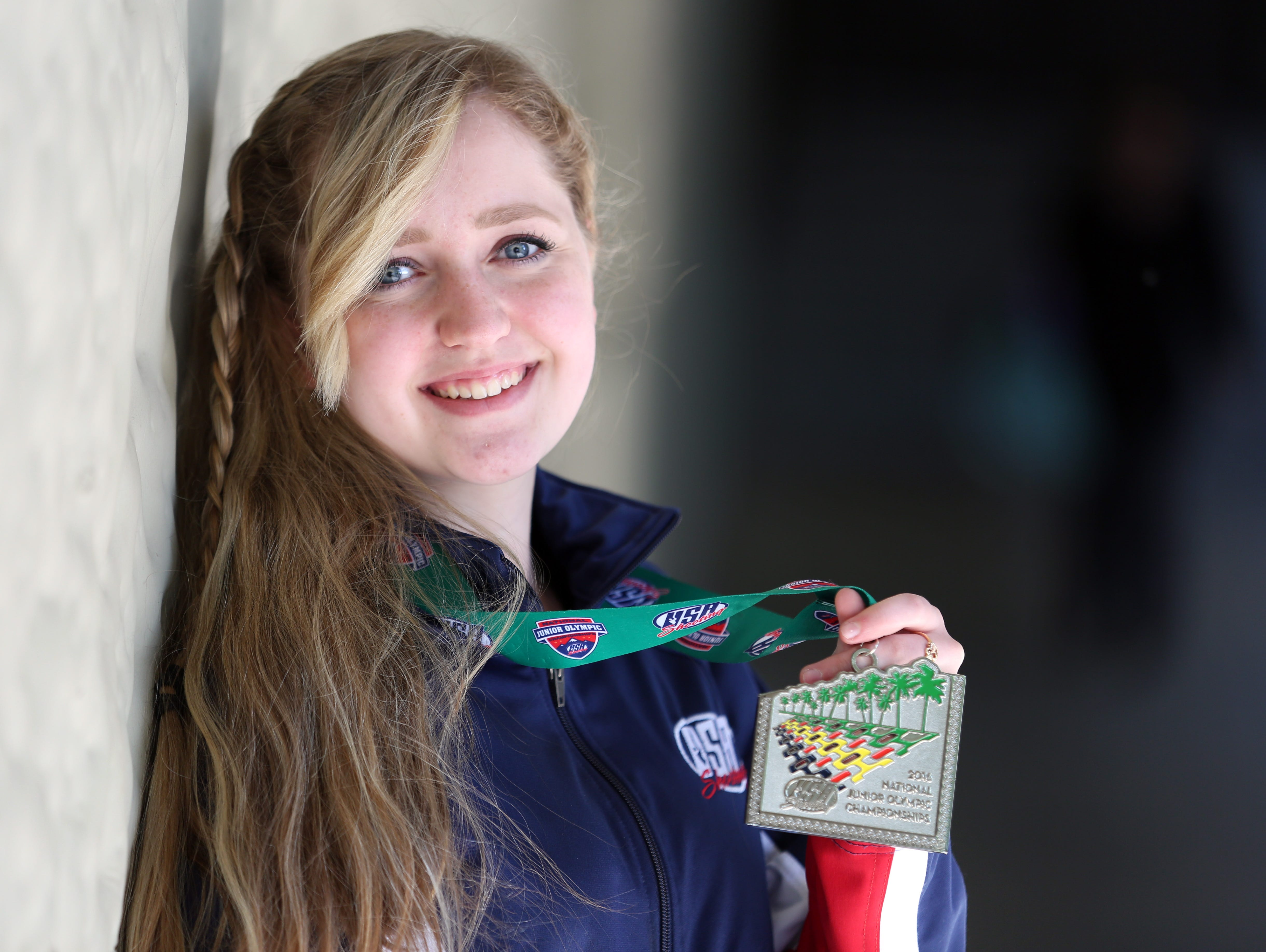 North Salem High School freshman Taylor Gibson placed 12th in the Junior Olympics for air rifle shooting. Photographed Monday, April 25, 2016.