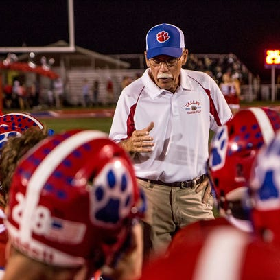 Licking Valley coach Randy Baughman addresses his team