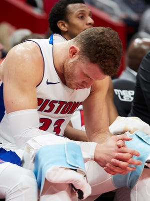 Blake Griffin sits on the bench during the second half of the Pistons' 118-103 loss to the Pelicans at Little Caesars Arena on Monday.