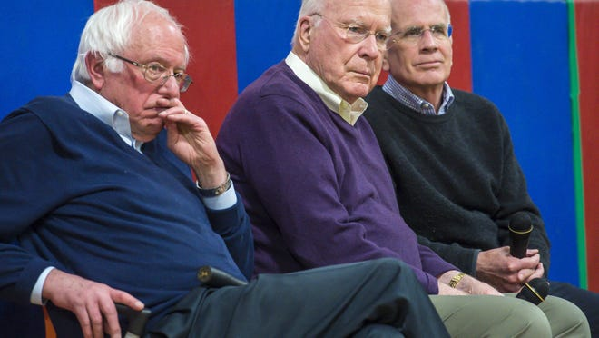 Vermont's congressional delegation, from left, Sens. Senators Bernie Sanders and Patrick Leahy, and U.S. Rep. Peter Welch listen to a question from an audience member during a town hall meeting at Hazen Union High School in Hardwick on Saturday, March 25, 2017.