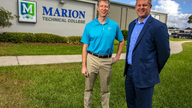 Mark Vianello, Marion County Public Schools' executive director of Career & Technical Education, right, stands with Kevin Sheilley, president and CEO the Ocala-Marion County Chamber Economic Partnership (CEP) in 2018. Vianello was recently named a 2020 College Ready Florida Innovator.