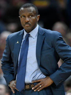Toronto Raptors head coach Dwane Casey reacts in the third quarter against the Cleveland Cavaliers at Quicken Loans Arena.