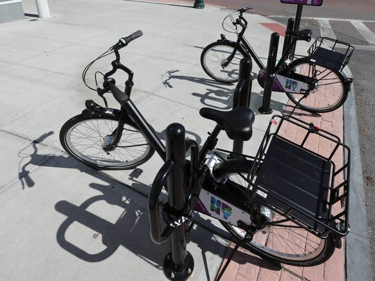 New Rochelle has launched a bike-sharing program. Here,