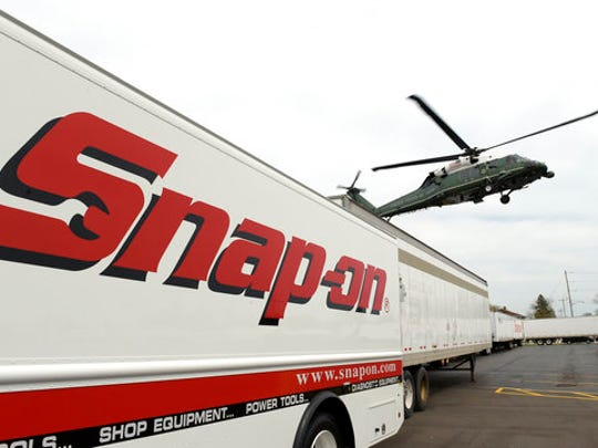 Marine One, with President Donald Trump aboard, arrives at tool manufacturer Snap-on Inc., in Kenosha, Wis., Tuesday, April 18, 2017. Trump visited the headquarters of tool manufacturer Snap-on Inc., and will later sign a an executive order that seeks to make changes to a visa program that brings in high-skilled workers.