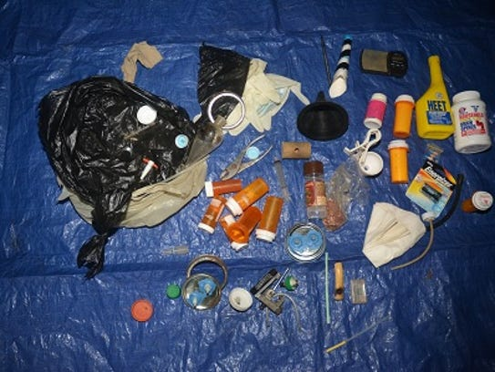 Items found during the search of a meth lab.