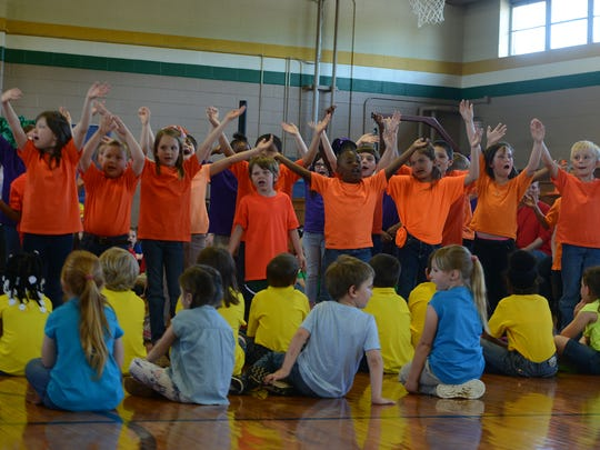 Beech Bluff Elementary School first- and second-graders sing 'My Favorite Things' during their Spring Musical on Friday.