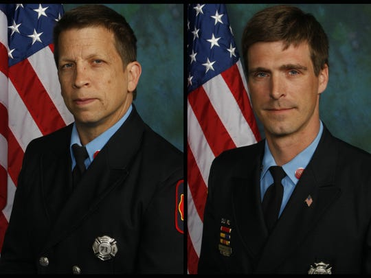 Wilmington firefighters Jerry Fickes (left) and Christopher Leach are shown in a composite image. They were killed fighting a fire in Canby Park.