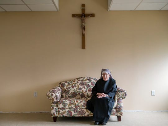 Sister Edith Collins, a 97 year-old nun with the Little Sisters of the Poor, poses for a portrait at the Little Sisters of the Poor nursing home a in Ogletown on Tuesday afternoon, March 28, 2017.