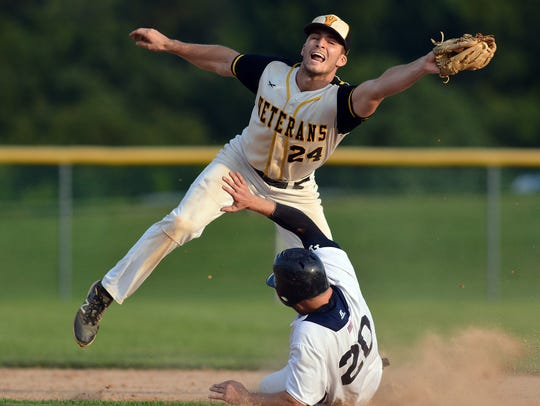 Stewartstown's Cody Brittain, seen here stretching to make a catch, is one of East Prospect's key pick-ups for the Tom Kerrigan Memorial Tournament. DISPATCH FILE PHOTO