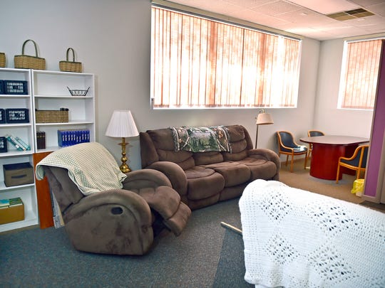 The living room at Esther House, a substance abuse recovery support home at 112 Walnut Street, Waynesboro, is pictured Friday, August 4, 2017.