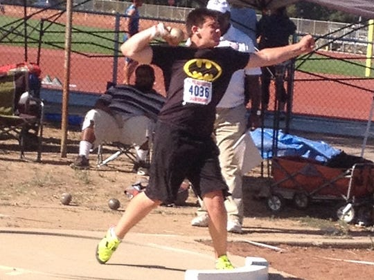 West Valley High School junior Payton Fuller competes at the USA Track and Field, Pacific Association Junior Olympic Championships in Union City at James Logan High School.