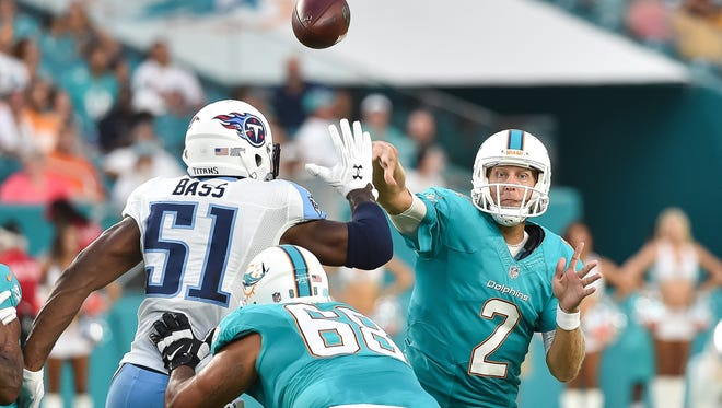 Miami Dolphins quarterback Zac Dysert (2) throws a pass during the first half against the Tennessee Titans at Hard Rock Stadium on Sept. 1.