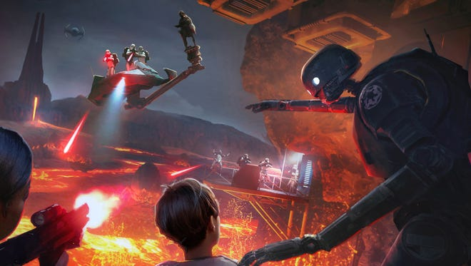 If you're only semi-literate in Star Wars mythology, don't fret. The roughly 15-minute experience is intuitive and is basically a high-tech shoot-em-up. It's like walking into a video game and blasting away — only this gamescape is dimensional, and the action takes place all around you.