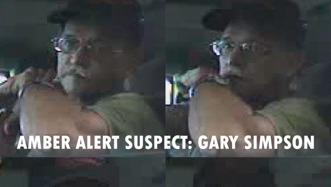 Surveillance image of Gary Simpson, accused of kidnapping his niece Carlie Trent