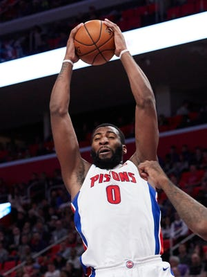 Dec 8, 2017; Detroit, MI, USA; Detroit Pistons center Andre Drummond (0) grabs the rebound in the first half against the Golden State Warriors at Little Caesars Arena.