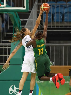 Aug 7, 2016: United States center Brittney Griner (15) blocks the shot of Senegal center Maimouna Diarra (11) during the Rio 2016 Summer Olympic Games at Youth Arena.