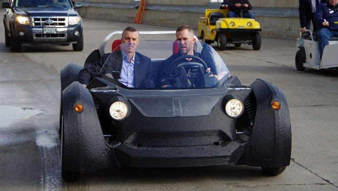 At the 2014 International Manufacturing Technology Show in Chicago, Local Motors  of Chandler unveiled the Strati 3D-printed electric car, which the company says is the first of its kind in the world.