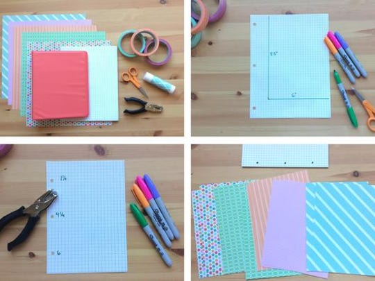 Make your own graph paper binder with scrapbook paper dividers.