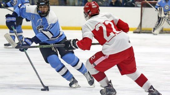 North Rockland defeats Suffern 3-2. during boys hockey