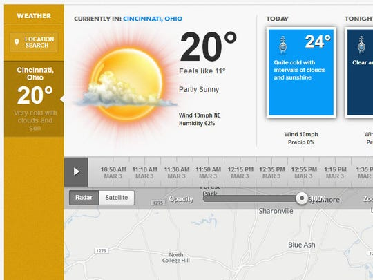 Our improved weather page.