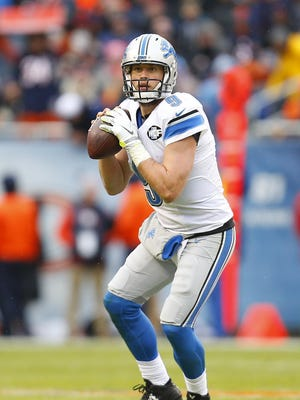 Lions quarterback Matthew Stafford looks to pass against the Bears on Jan. 3, 2016 in Chicago. The Lions won the game, 24-20.