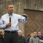 OFTEN SAYS, 'DOES THAT MAKE SENSE TO YOU?' Ohio Gov. John Kasich speaks during a town hall meeting in the Campanile Room of the Memorial Union at Iowa State University in Ames, Monday, Nov. 30, 2015.