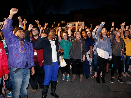 University of Oklahoma students rally outside the now
