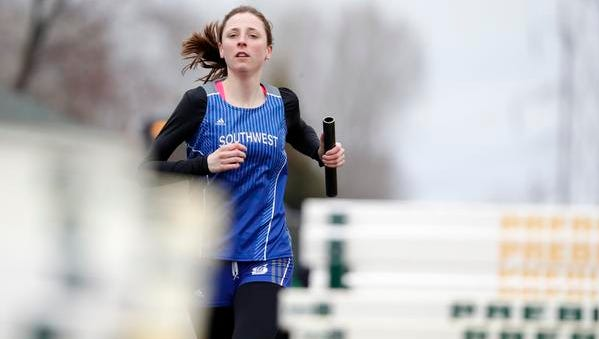 Green Bay Southwest's Morgan Landry runs in the 4x800m relay at the Green Bay City Track and Field Meet at Green Bay Preble's Gauthier Family Stadium on Thursday, April 12, 2018 in Green Bay, Wis.