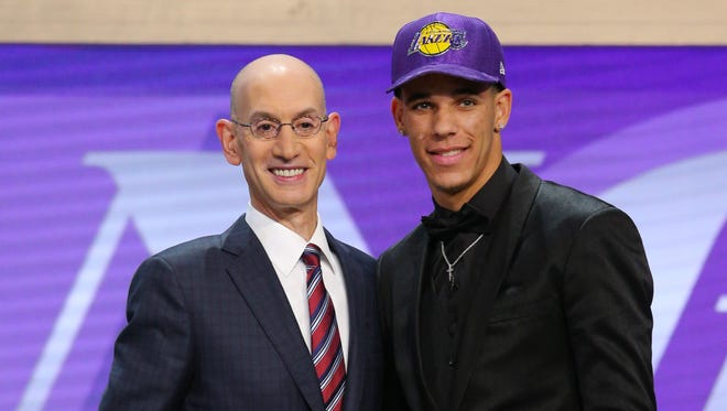 Lonzo Ball (UCLA) is introduced by NBA commissioner Adam Silver as the number two overall pick to the Los Angeles Lakers in the first round of the 2017 NBA Draft at Barclays Center.