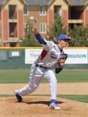 Sawyer Jaksick delivers a pitch for the Huskies.