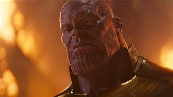 "Thanos (Josh Brolin) comes to Earth looking for Infinity Stones — and a fight — in ""Avengers: Infinity War."""